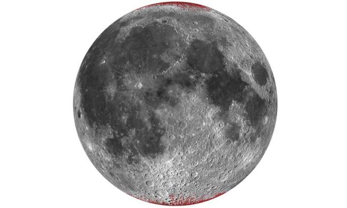 Các nhà khoa học phát hiện hematite (màu đỏ nâu) trên Mặt Trăng. Ảnh: IFL Science.