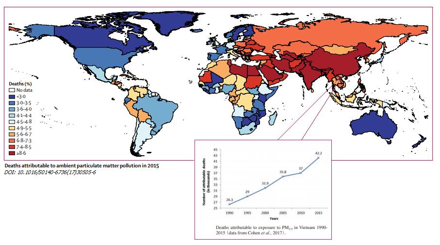 Bản đồ mật độ các ca tử vong trên thế giới do ô nhiễm không khí PM2.5 ngoài trời năm 2015. (Biểu đồ nhỏ ước tính dữ liệu những ca tử vong ở Việt Nam từ năm 1990-2015)