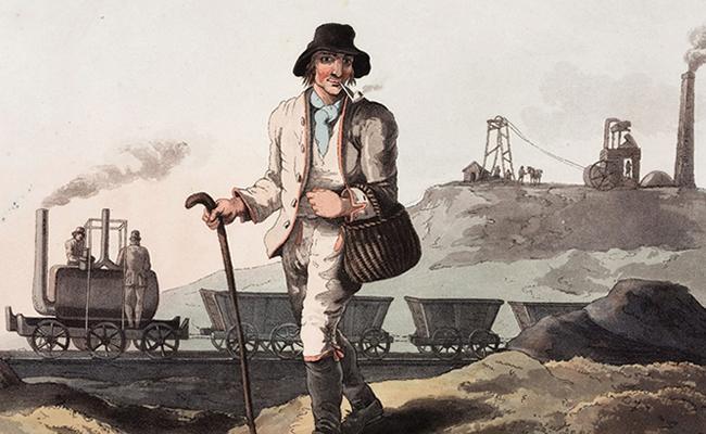 Người thợ mỏ, tranh do George Walker (1814) vẽ, có khắc họa hình ảnh đầu máy Salamanca.