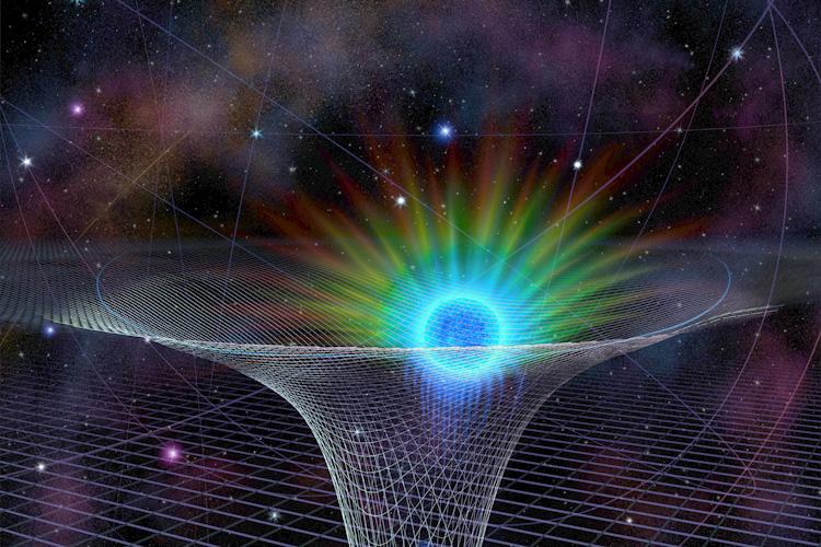 Một đồ họa nghệ thuật của ngôi sao S-02 khi nó băng qua lỗ đen siêu nặng ở tâm thiên hà, đã làm hình học của không thời gian bị bẻ cong. Khi đến gần hơn với lỗ đen này, ánh sáng của ngôi sao cũng bị tác động của dịch chuyển đỏ hấp dẫn, hiện tượng vốn được Thuyết tương đối rộng của Einstein dự đoán. (NSF/Nicolle R. Fuller)