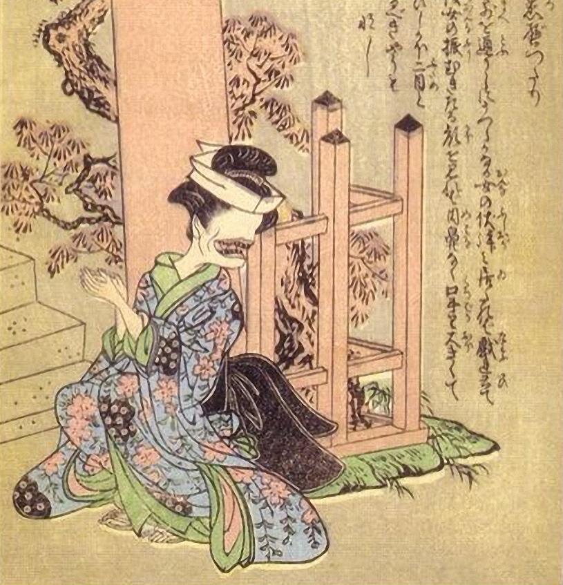Hình ảnh ma nữ Ohaguro Bettari trong văn hóa dân gian Nhật Bản. Ảnh: Livejapan.