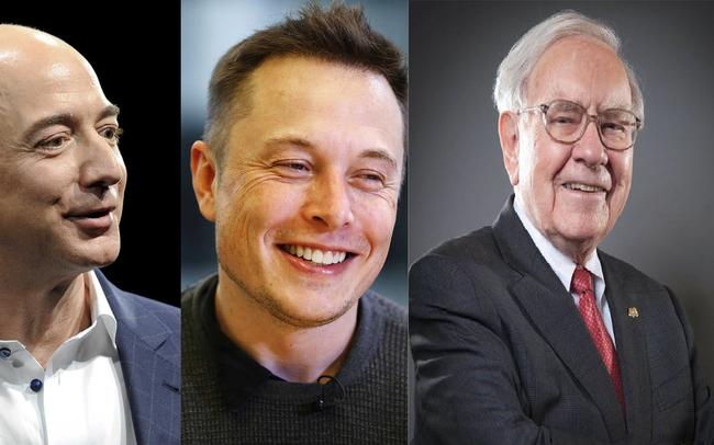Ba tỷ phú nổi tiếng Elon Musk (giữa), Jeff Bezos (trái) và Warren Buffett có những đặc điểm giống nhau.