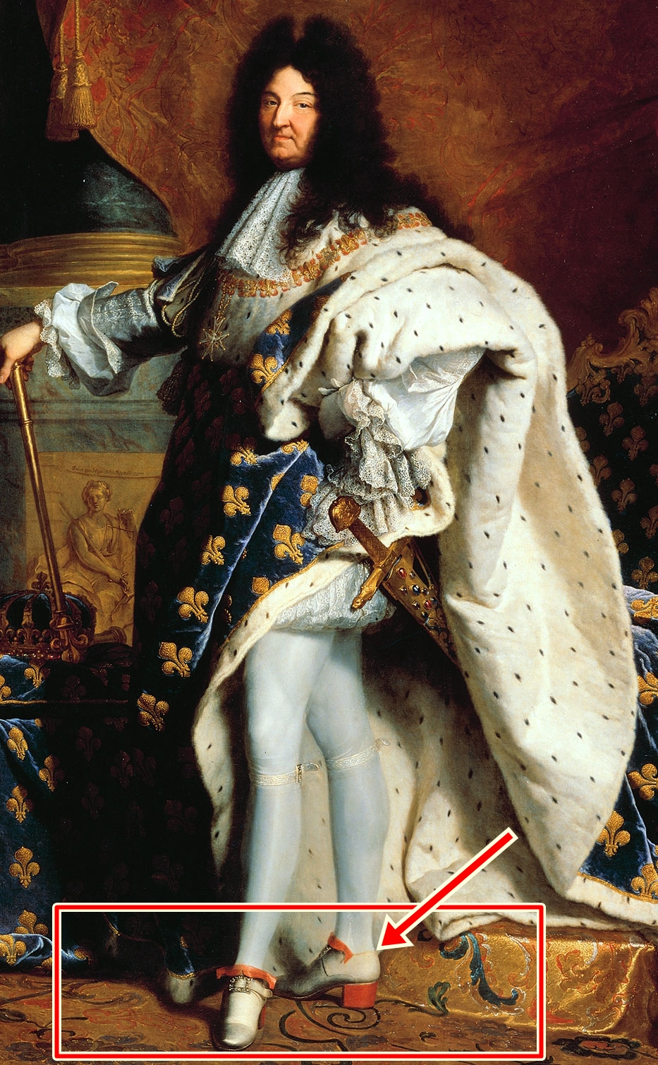 Vua Louis XIV (Pháp) đi giày cao gót trong bức vẽ của Hyacinthe Rigaud năm 1701. Ảnh: Wikipedia.