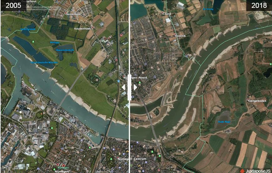 """Ảnh chụp vệ tinh thành phố Nijmegen (Hà Lan) trước và sau khi thực hiện dự án """"Room for the River"""". Nguồn: Nola"""