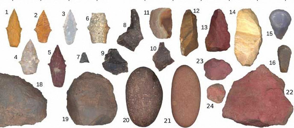 Các công cụ bằng đá được tìm thấy trong mộ của nữ thợ săn. Ảnh: UC Davis.