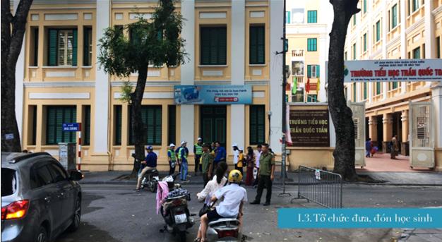 Điều phối giao thông trong giờ cao điểm trước cổng trường tiểu học Trần Quốc Toản, Q. Hoàn Kiếm