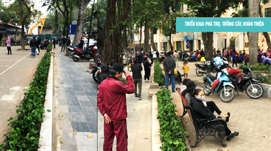 Mở rộng không gian tại vườn hoa Sơn Tây để đảm bảo học sinh có không gian đứng chờ, đi bộ an toàn.