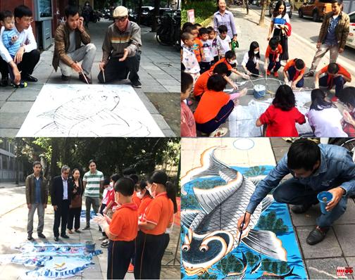 Vẽ mỹ thuật đường phố với sự tham gia của học sinh trường Trần Quốc Toản và Tràng An