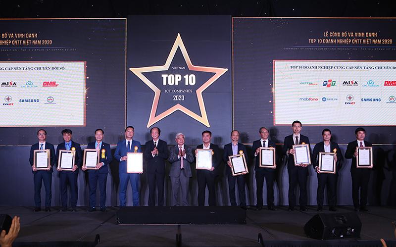 Top 10 doanh nghiệp cung cấp các nền tảng chuyển đổi số. Ảnh: BTC