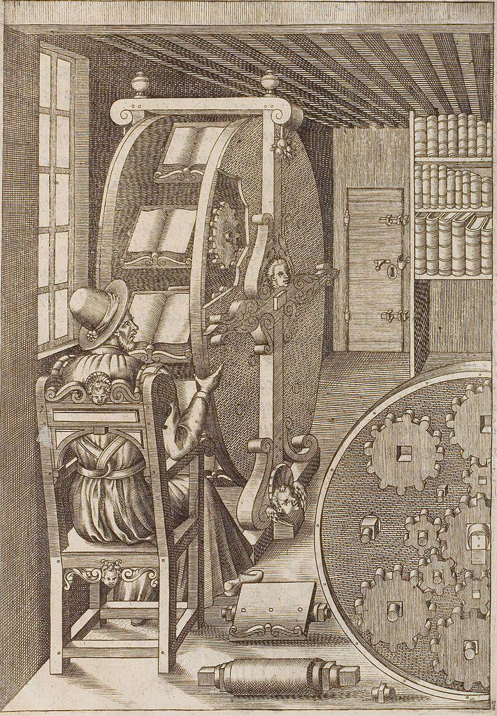 Thiết kế bánh xe sách của Agostino Ramelli.