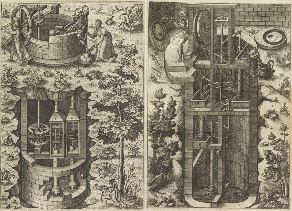 Hai ví dụ về những cỗ máy phức tạp quá mức của Ramelli để thực hiện một tác vụ đơn giản là lấy nước từ giếng lên.