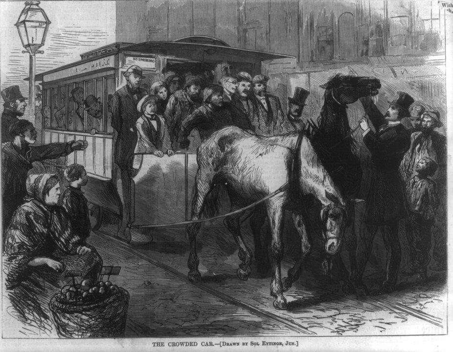 Henry Bergh (đội mũ chóp) đang ngăn một đoàn xe ngựa quá đông đúc, tranh từ tờ Harper's Weekly vào ngày 21/9/1872. Ảnh: Library of Congress.