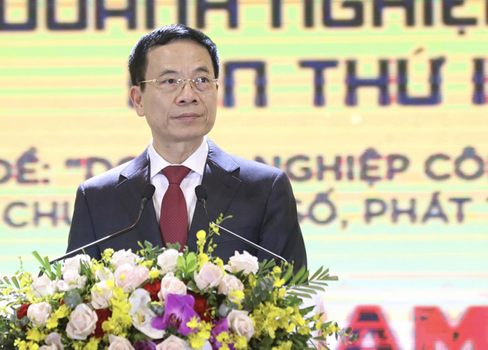 Bộ trưởng Bộ Thông tin và Truyền thông Nguyễn Mạnh Hùng phát biểu tại sự kiện. Nguồn: Vnexpress.vn
