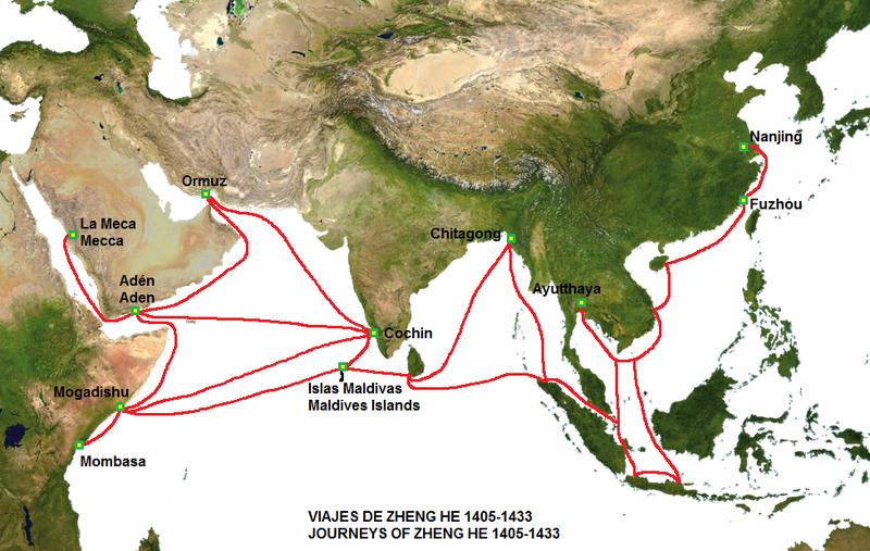 Tuyến hải trình mà hạm đội Trịnh Hòa đã đi theo ghi chép trong sách sử của Trung Quốc.