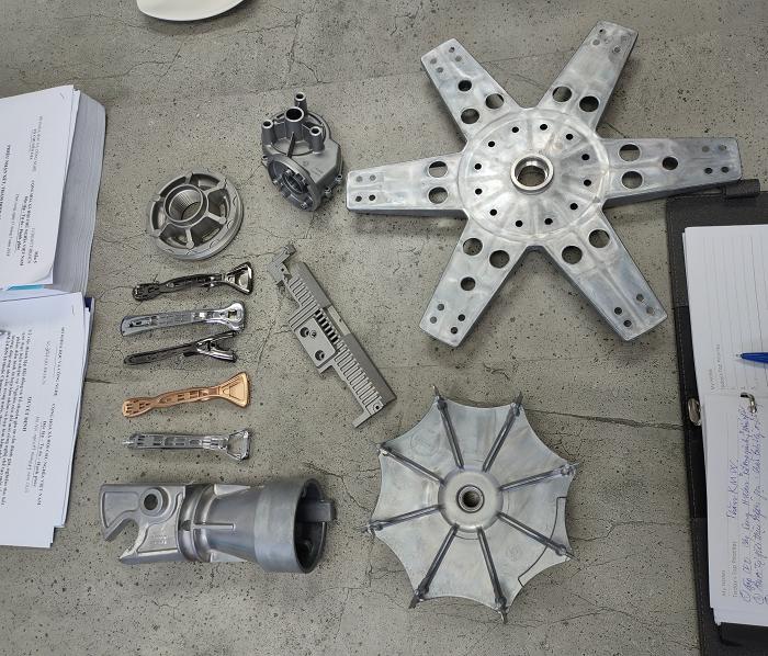 Một số chi tiết cơ khí đúc hợp kim nhôm, hợp kim kẽm được nghiệm thu trong Dự án | Nguồn: VPCTQG