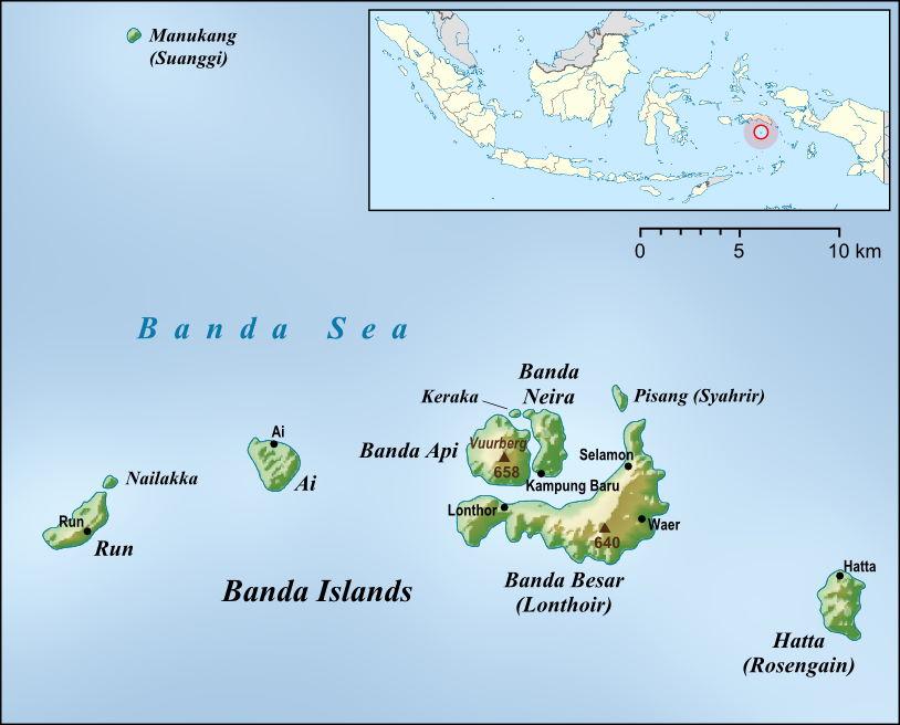 Bản đồ quần đảo Banda Islands. Ảnh: Lencer/Wikimedia Commons.