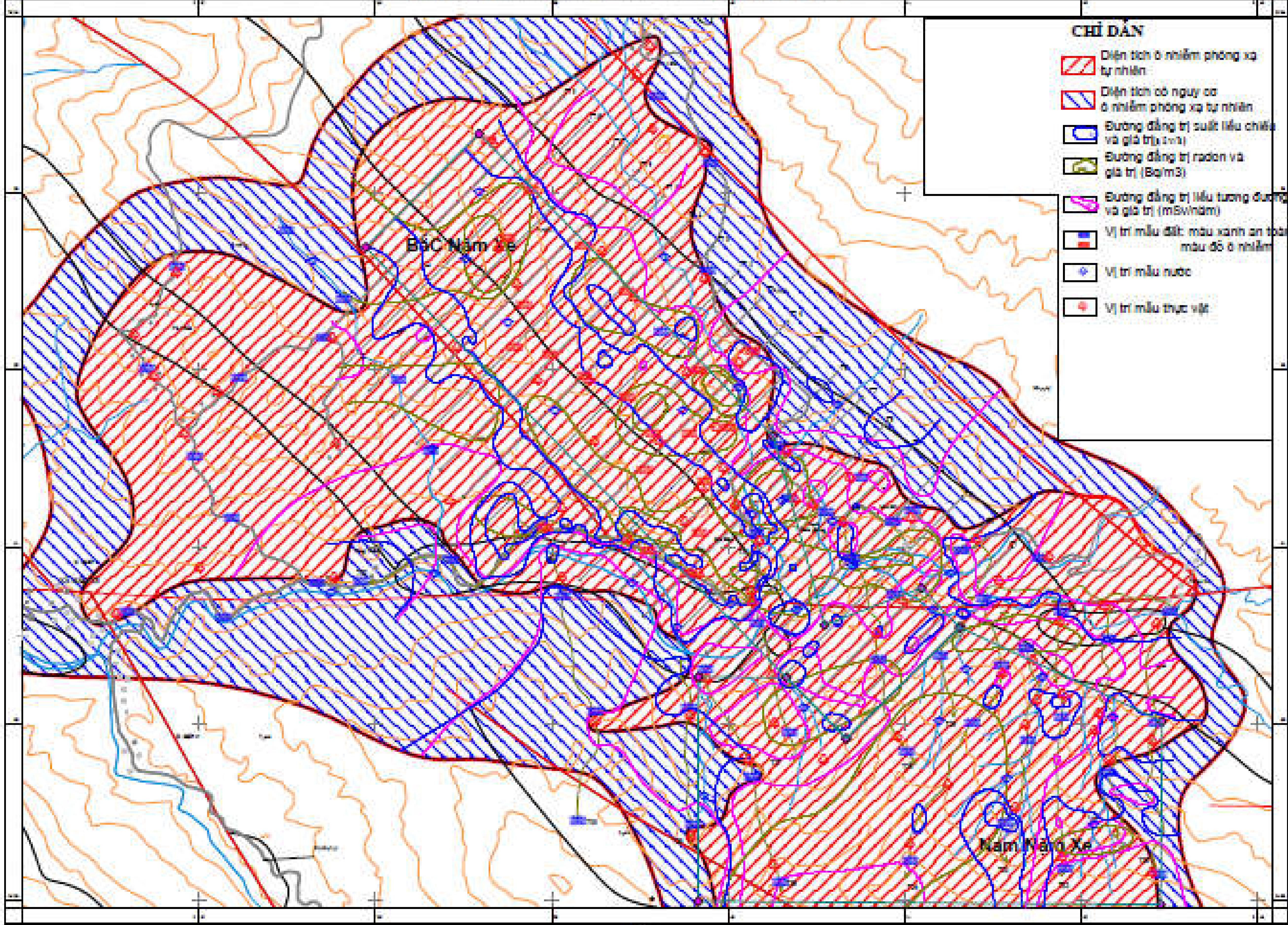 Bản đồ phân vùng ô nhiễm phóng xạ do nhóm xây dựng của mỏ Nậm Xe. Nguồn: PGS.TS Phan Quang Văn.