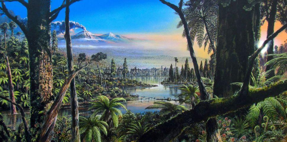 Hình minh họa khu rừng nhiệt đới cổ đại.
