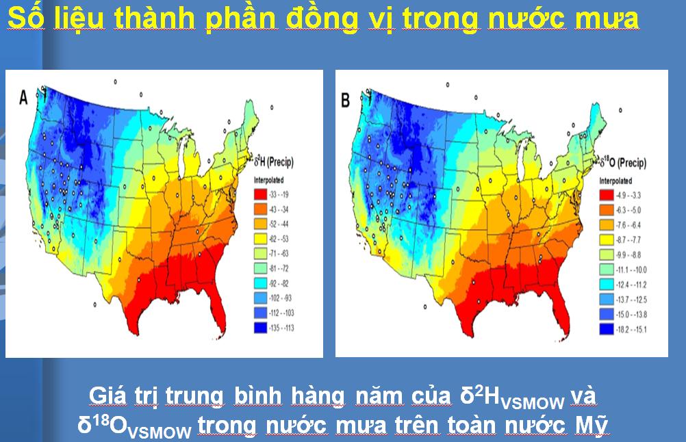 Bản đồ đồng vị bền H-2 và O-18 trong nước mưa trên toàn bộ Hoa Kỳ. Ảnh: NVCC