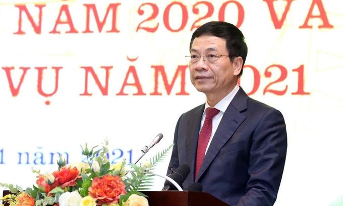 Bộ trưởng Nguyễn Mạnh Hùng phát biểu tại hội nghị. Nguồn: Vnexpress.vn