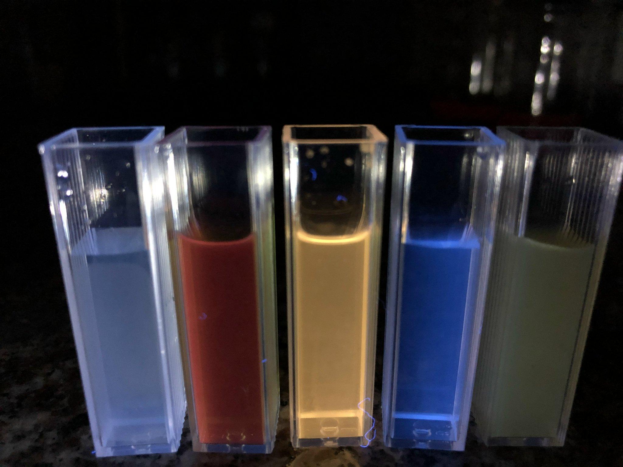 Màu sắc các chấm lượng tử phân tán đều trong môi trường pH 7,4 và phát quang khi được chiếu ánh sáng UV. Độ phát quang giữ được ngay cả khi dung dịch được pha loãng hàng trăm lần   Nguồn: NVCC