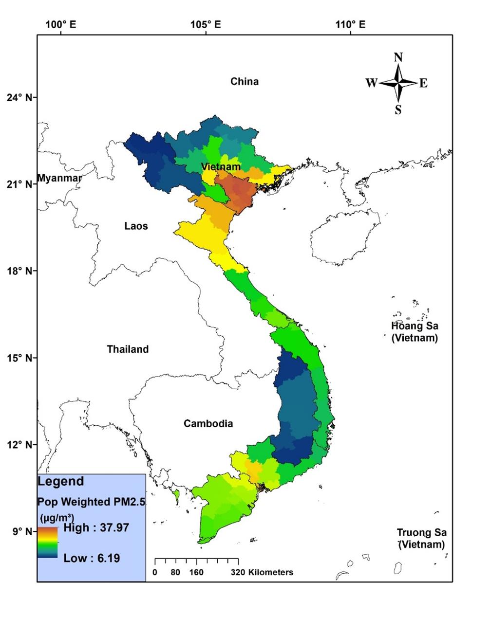 Bản đồ có độ phân giải 3km x 3km. Dải nồng độ bụi PM 2.5 trung bình năm biến thiên từ 6,19 - 37,7𝜇g/m3, tương ứng với dải màu biến thiên từ xanh đến đỏ. | Nguồn: FIMO
