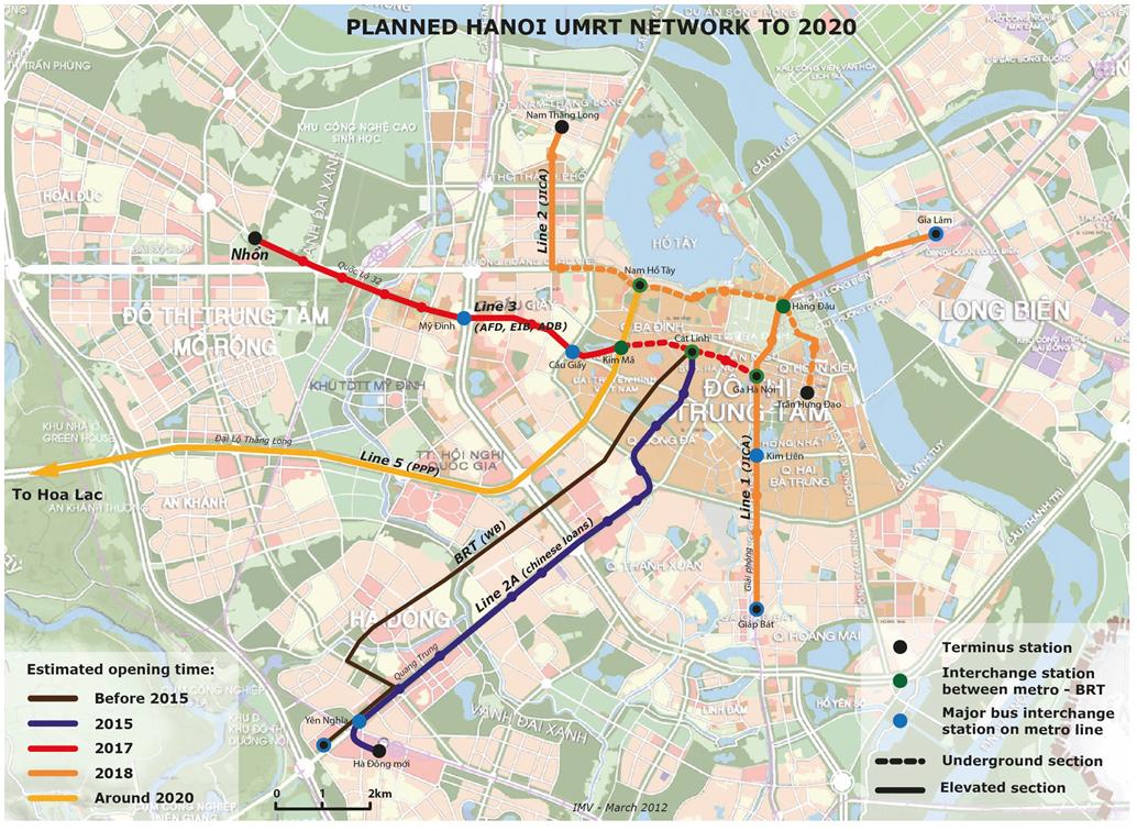 Kế hoạch phát triển hệ thống giao thông công cộng của Hà Nội | Nguồn: CODAUTU, 2012