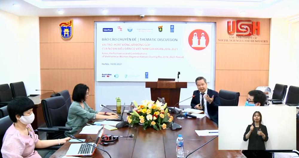 Các đại biểu tại điểm cầu Hà Nội tham gia họp báo | Ảnh chụp màn hình ngày 19/5/2021