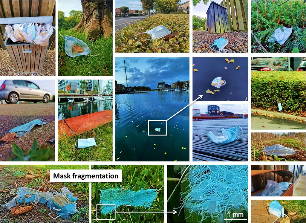 những bức ảnh về khẩu trang bị vứt bỏ trong môi trường ở thành phố Odense, Đan Mạch. Ảnh: Tiến sĩ Elvis Genbo Xu.