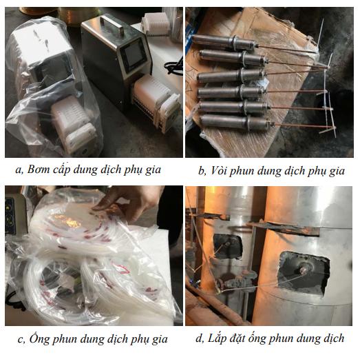 Thí nghiệm đặt ống phun dung dịch phụ gia tại nhà máy nhiệt điện Hải Phòng | Ảnh: NVCC