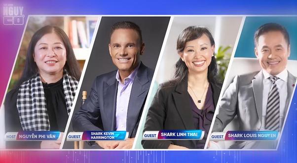 Bà Nguyễn Phi Vân cùng ba vị khách mời là các Shark của chương trình Shark Tank phiên bản Mỹ và Việt Nam | Ảnh: BTC