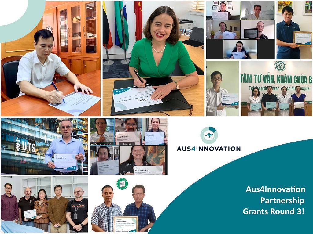 Trao chứng nhận tài trợ vòng 3 của chương trình Aus4Innovation năm 2021 | Ảnh: ĐSQ Australia