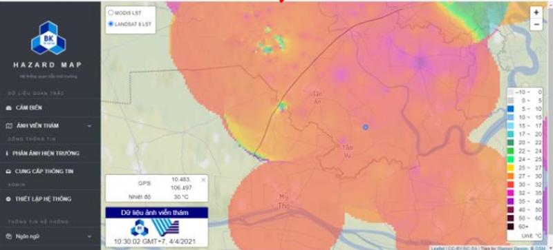 Giá trị quan trắc môi trường rút trích từ ảnh viễn thám được hiển thị trên nền bản đồ tương tác.
