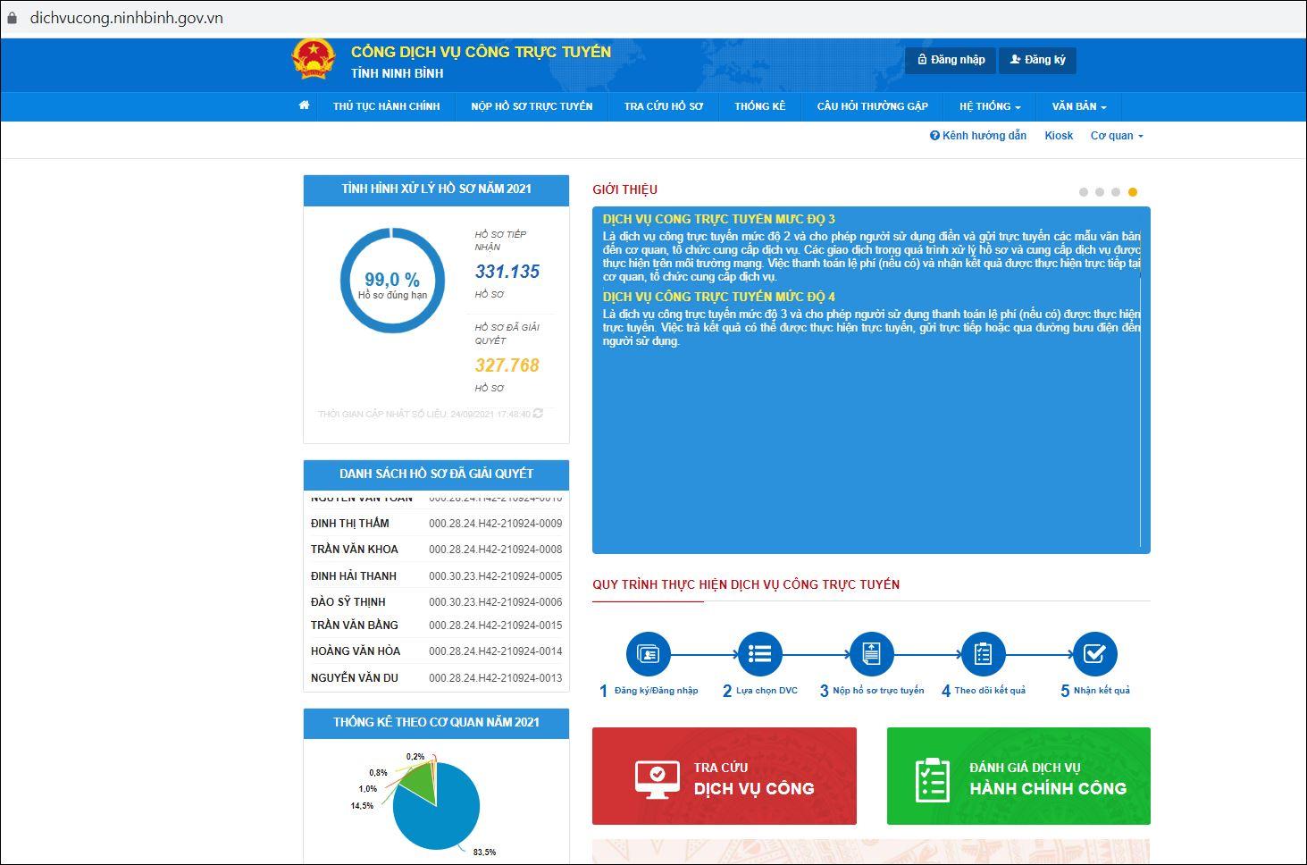 Cổng dịch vụ công trực tuyến tỉnh Ninh Bình. Nguồn: Bộ TT&TT.