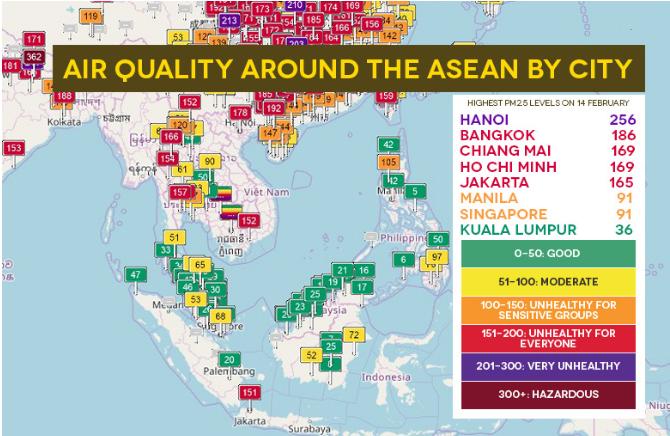 Theo dõi chất lượng không khí trên quy mô toàn cầu   Nguồn: aqicn.org