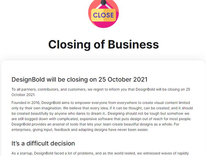Thông báo đóng cửa trên webisite của DesignBold. Nguồn: Ảnh chụp màn hình./