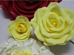 Clip: Hướng dẫn làm hoa hồng bằng giấy nhún