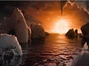 Mặt trời khổng lồ màu hồng trên 7 hành tinh giống Trái Đất