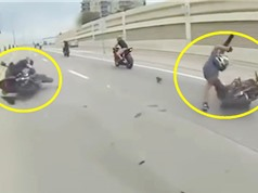 Clip: Môtô va quệt, 2 người đàn ông lăn lóc trên đường