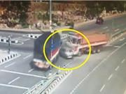 Clip: Hai chiếc xe tải tông nát xe hơi
