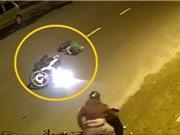 Clip: Tông đôi nam nữ sang đường ẩu, thanh niên chạy Exciter bay như phim hành động