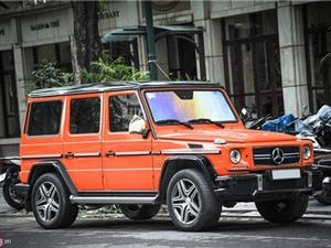 Mercedes G63 AMG màu cam nổi bật trên đường phố Hà Nội