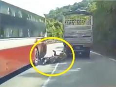 Clip: Gia đình suýt tử nạn ở đèo Bảo Lộc vì chồng chạy xe máy ẩu
