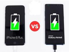 Clip: iPhone 8 Plus đọ tốc độ sạc pin với Samsung Galaxy Note 8
