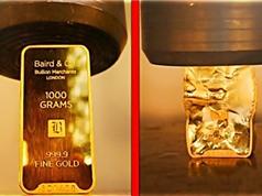 Thí nghiệm nghiền nát thỏi vàng bằng máy ép thủy lực