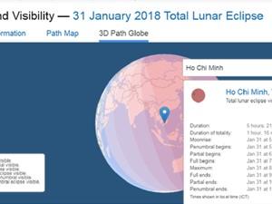 Việt Nam trong vùng ngắm siêu trăng máu xanh rõ nhất