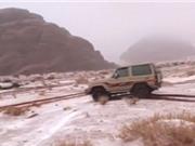 Sa mạc Arab Saudi biến thành cánh đồng tuyết trắng xóa