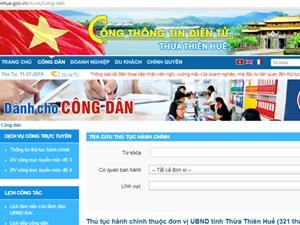 Thừa Thiên-Huế đứng đầu về phát triển Chính phủ điện tử cấp tỉnh